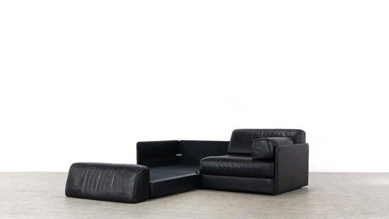 De Sede Ds76, Sofa & Daybed in Black Leather, 1972 by De Sede Design Team 9