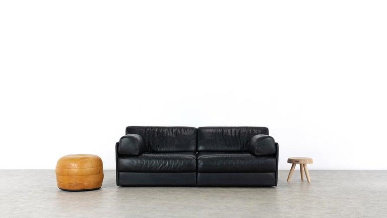 De Sede Ds76, Sofa & Daybed in Black Leather, 1972 by De Sede Design Team 11