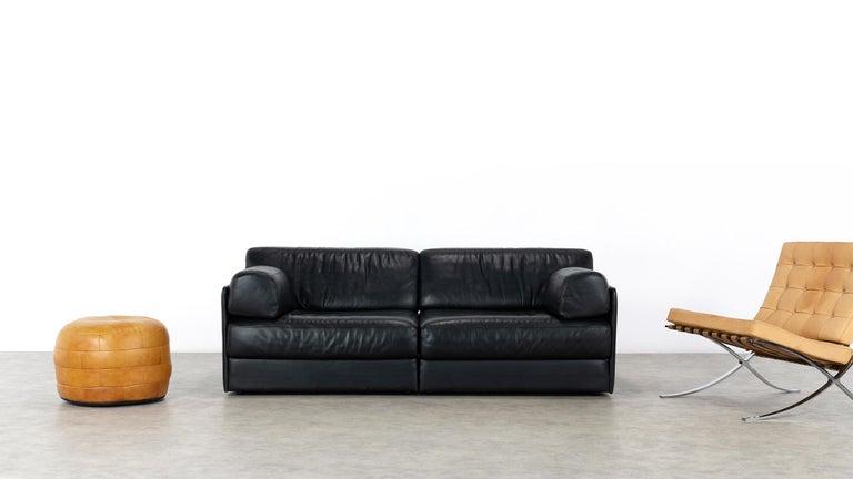 Mid-Century Modern De Sede Ds76, Sofa & Daybed in Black Leather, 1972 by De Sede Design Team