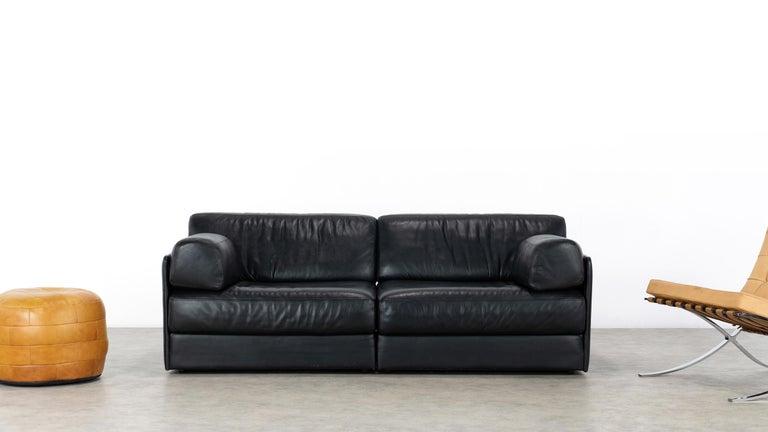 Swiss De Sede Ds76, Sofa & Daybed in Black Leather, 1972 by De Sede Design Team