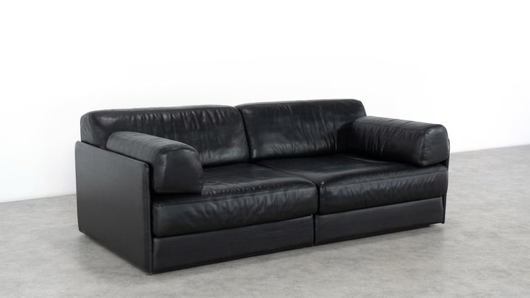 De Sede Ds76, Sofa & Daybed in Black Leather, 1972 by De Sede Design Team In Good Condition In Munster, NRW