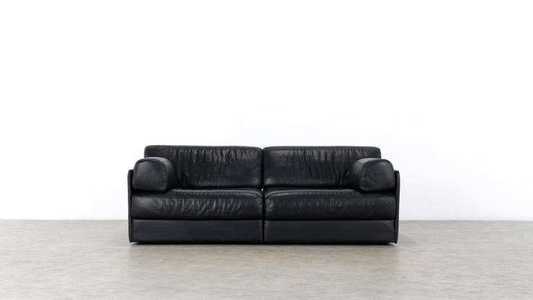 Late 20th Century De Sede Ds76, Sofa & Daybed in Black Leather, 1972 by De Sede Design Team