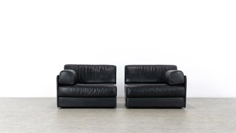 De Sede Ds76, Sofa & Daybed in Black Leather, 1972 by De Sede Design Team 1