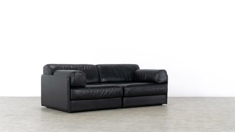 De Sede Ds76, Sofa & Daybed in Black Leather, 1972 by De Sede Design Team 2