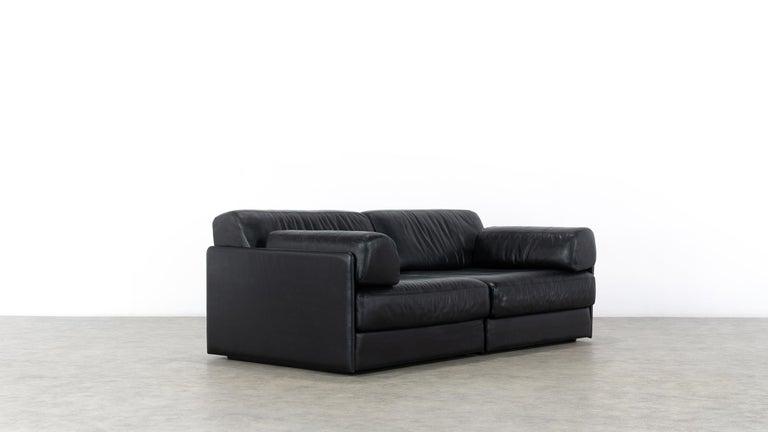 De Sede Ds76, Sofa & Daybed in Black Leather, 1972 by De Sede Design Team 3