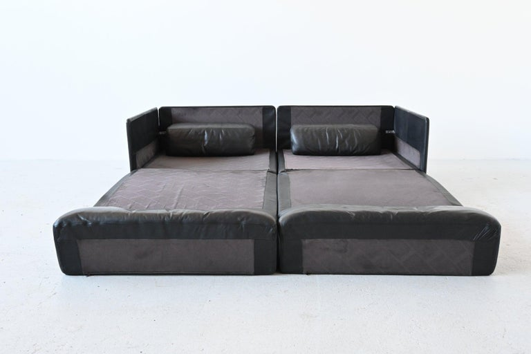 Late 20th Century De Sede DS76 Two-Seat Sofa Black Leather, Switzerland, 1970