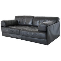 De Sede DS76 Two-Seat Sofa Black Leather, Switzerland, 1970