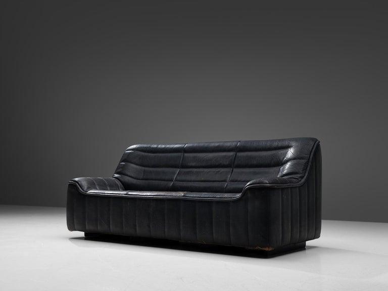 Mid-Century Modern De Sede 'DS84' Sofa in Black Leather