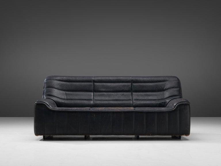 Swiss De Sede 'DS84' Sofa in Black Leather