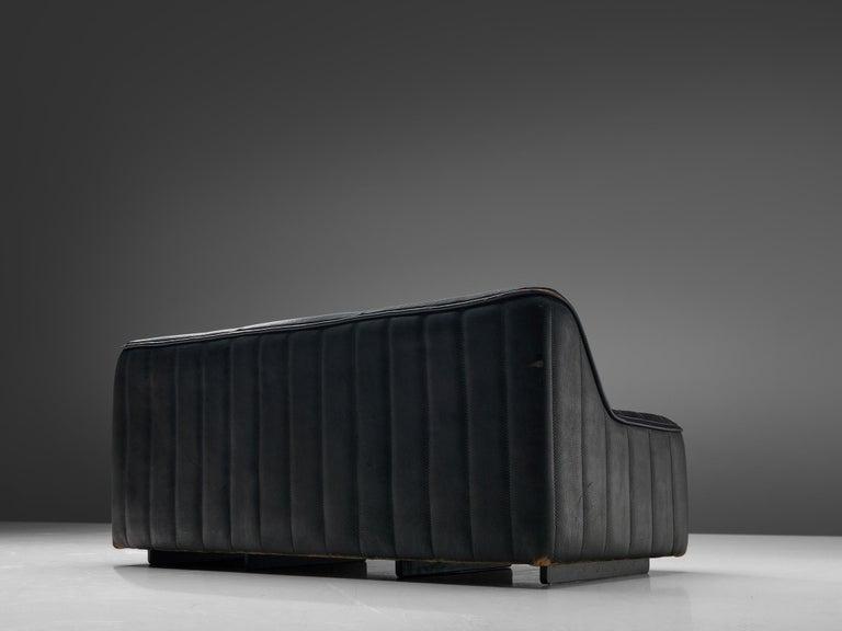 De Sede 'DS84' Sofa in Black Leather In Good Condition In Waalwijk, NL