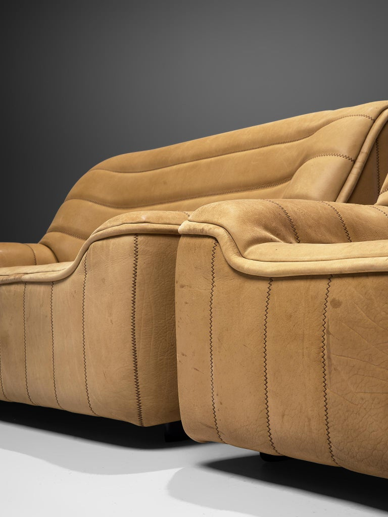 Mid-Century Modern De Sede 'DS84' Sofa in Buffalo Leather For Sale