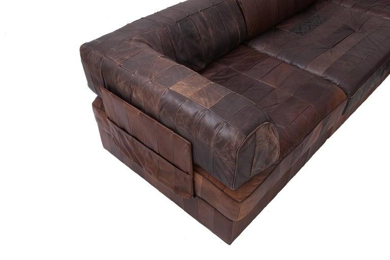 De Sede Ds88 Modular Brown Cognac Leather Patchwork Sofa