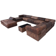De Sede DS88 Modular Brown Leather Patchwork Sofa, Extra Large