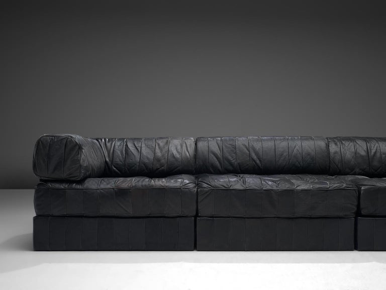De Sede DS88 Modular Sofa in Black Patinated Leather In Good Condition For Sale In Waalwijk, NL