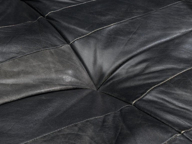 Late 20th Century De Sede DS88 Modular Sofa in Black Patinated Leather For Sale
