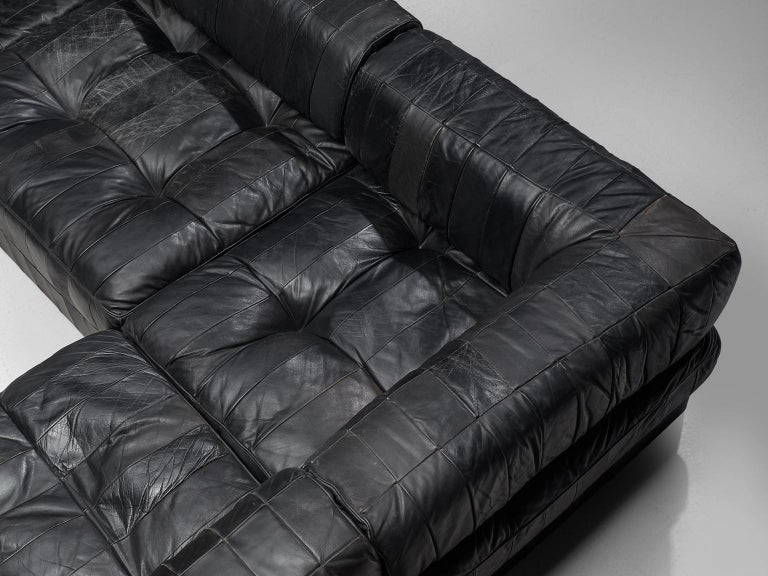 De Sede DS88 Modular Sofa in Black Patinated Leather For Sale 1