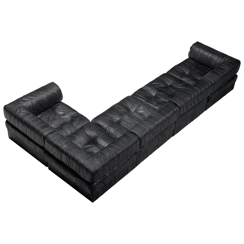 De Sede DS88 Modular Sofa in Black Patinated Leather