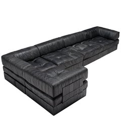 De Sede DS88 Modular Sofa in Black Patinated Leather