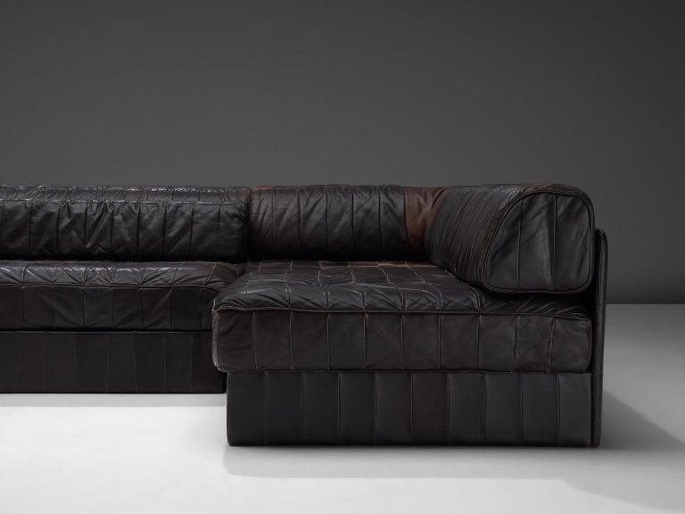Mid-Century Modern De Sede DS 88 Modular Sofa in Dark Brown Patinated Leather