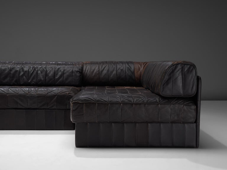 Swiss De Sede DS88 Modular Sofa in Dark Brown Patinated Leather For Sale
