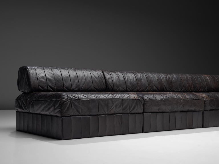 De Sede DS88 Modular Sofa in Dark Brown Patinated Leather In Good Condition For Sale In Waalwijk, NL
