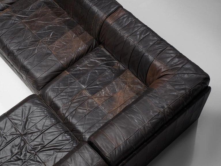 De Sede DS 88 Modular Sofa in Dark Brown Patinated Leather In Good Condition In Waalwijk, NL