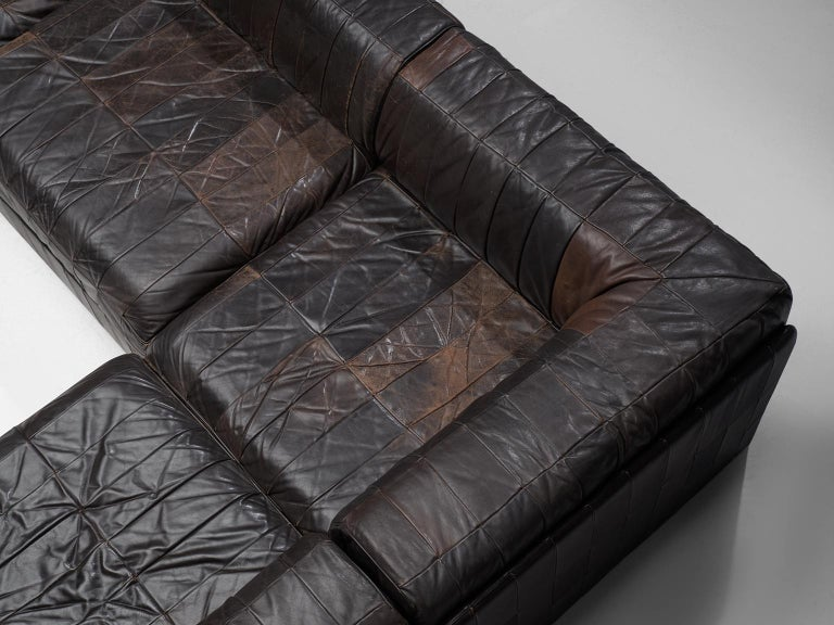 Late 20th Century De Sede DS88 Modular Sofa in Dark Brown Patinated Leather For Sale