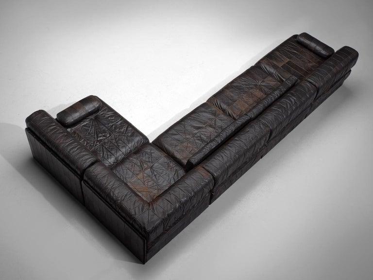 De Sede DS 88 Modular Sofa in Dark Brown Patinated Leather 1