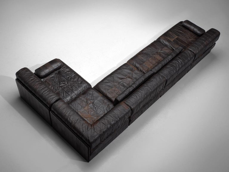 De Sede DS88 Modular Sofa in Dark Brown Patinated Leather For Sale 2