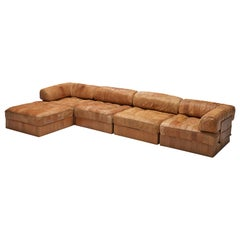 De Sede DS88 Modular Sofa in Patinated Cognac Leather