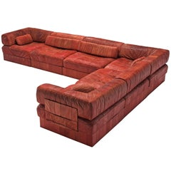 De Sede DS88 Red Modular Sofa Leather for De Sede