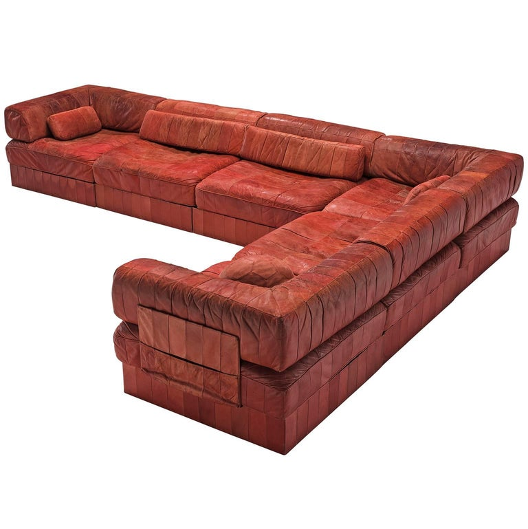 De sede ds 76 modular sofa in dark brown leather for sale for Red leather modular sectional sofa
