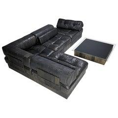 De Sede DS88 Sectional Midcentury Leather Sofa, Pouf & Table, 1970s, Switzerland