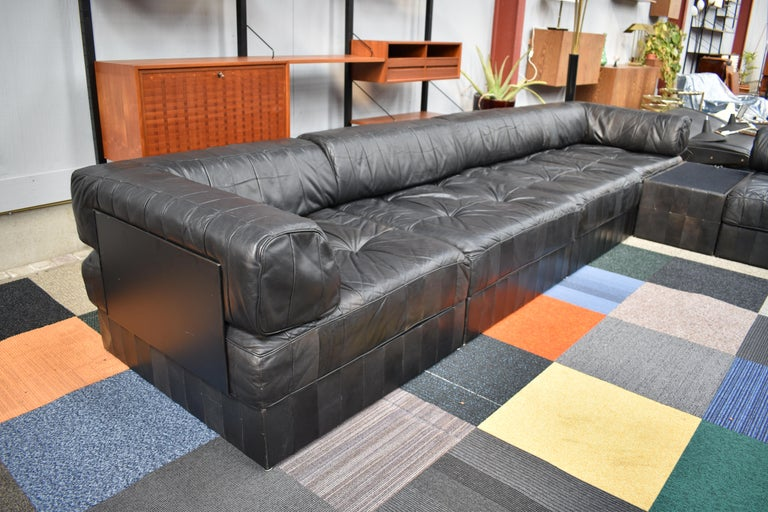 De Sede Ds88 Sectional Patchwork Sofa In Black Leather