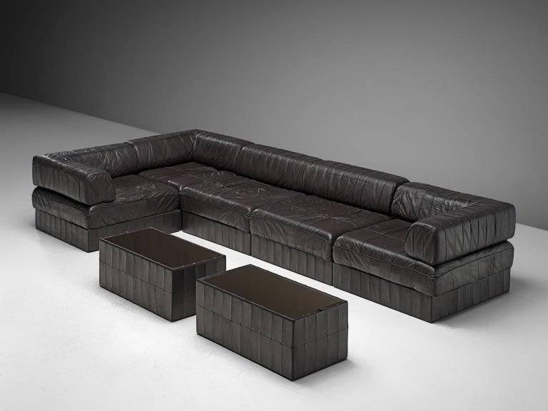 De Sede, sectional sofa, DS 88, dark brown leather, 1970s. 