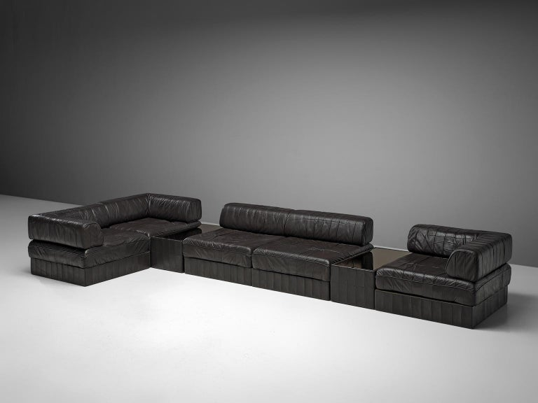 Mid-Century Modern De Sede 'DS88' Sectional Sofa in Dark Brown Leather For Sale