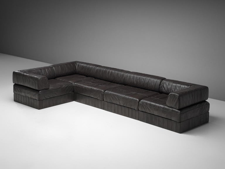 Late 20th Century De Sede 'DS88' Sectional Sofa in Dark Brown Leather For Sale