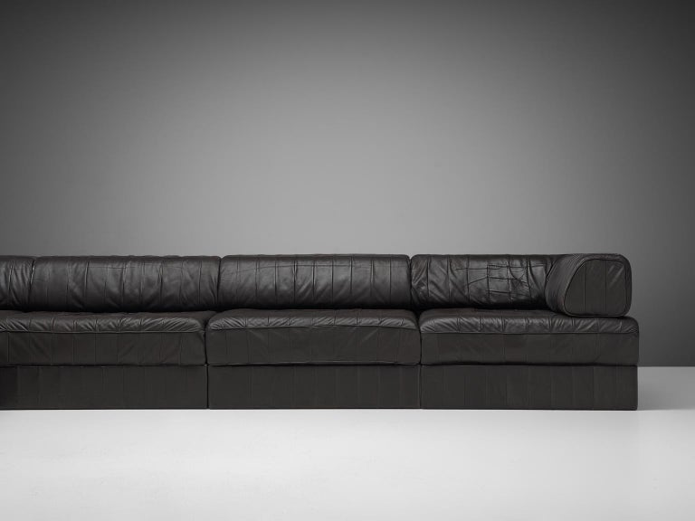 De Sede 'DS88' Sectional Sofa in Dark Brown Leather For Sale 1