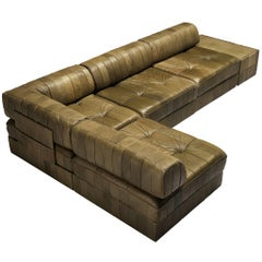 De Sede 'DS88' Sectional Sofa in Green Leather