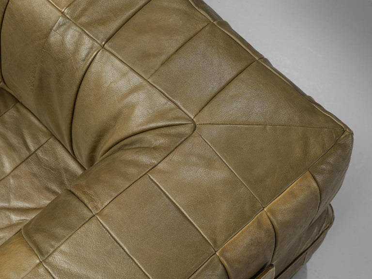 De Sede 'DS88' Sectional Sofa in Olive Green Leather For Sale 3