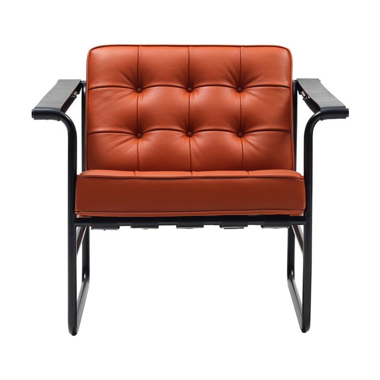 For Sale: Orange (Maine) De Sede International Steel Tube Armchair by Hans Eichenberger