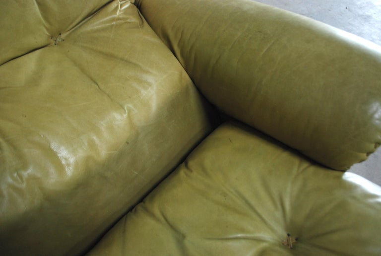 De Sede James Bond Leather Lounge Chair DS 101 Olive Green For Sale 5