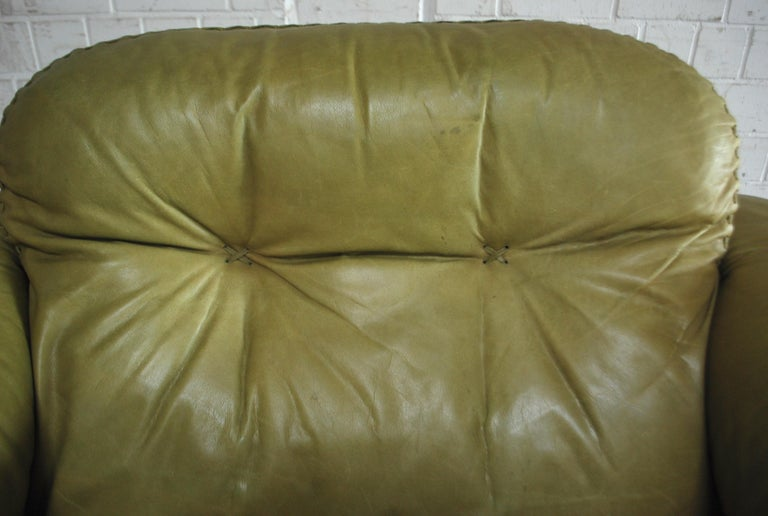 De Sede James Bond Leather Lounge Chair DS 101 Olive Green For Sale 6
