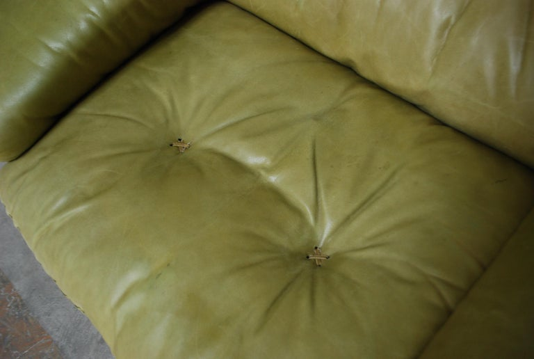 De Sede James Bond Leather Lounge Chair DS 101 Olive Green For Sale 7