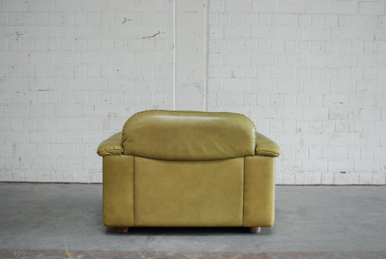De Sede James Bond Leather Lounge Chair DS 101 Olive Green For Sale 9