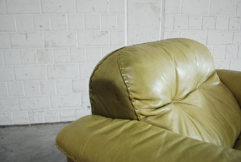 De Sede James Bond Leather Lounge Chair DS 101 Olive Green For Sale 12