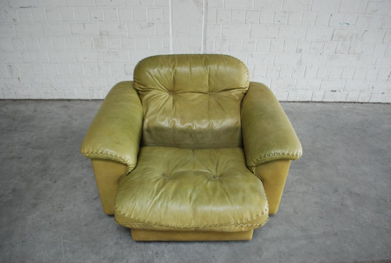Swiss De Sede James Bond Leather Lounge Chair DS 101 Olive Green For Sale