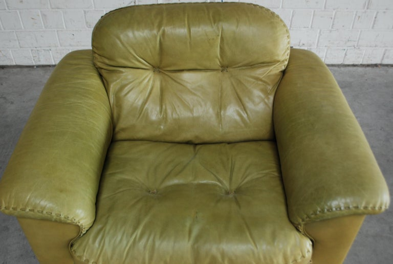De Sede James Bond Leather Lounge Chair DS 101 Olive Green For Sale 3