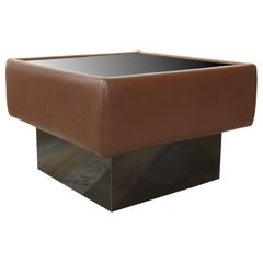 De Sede Leather and Glass Square Coffee Table