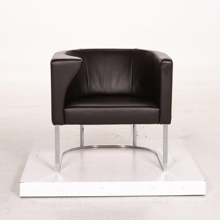 Contemporary De Sede Leather Armchair Brown Dark Brown